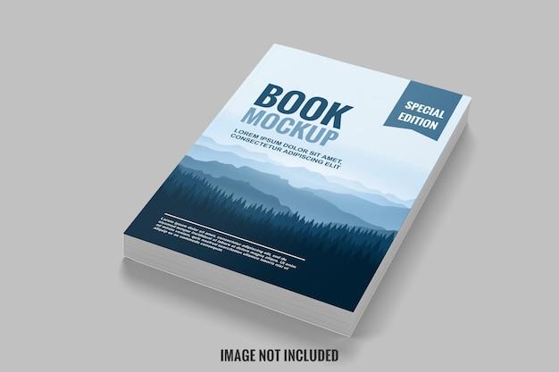 Livro azul e limpo da maquete de vista superior