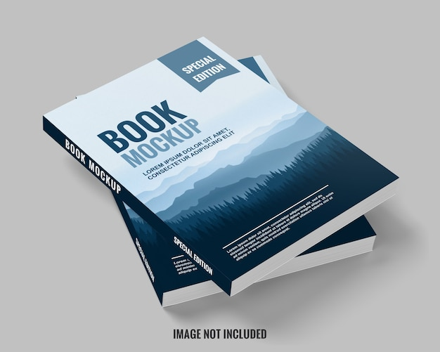 Livro azul e limpo empilhado da maquete de vista superior
