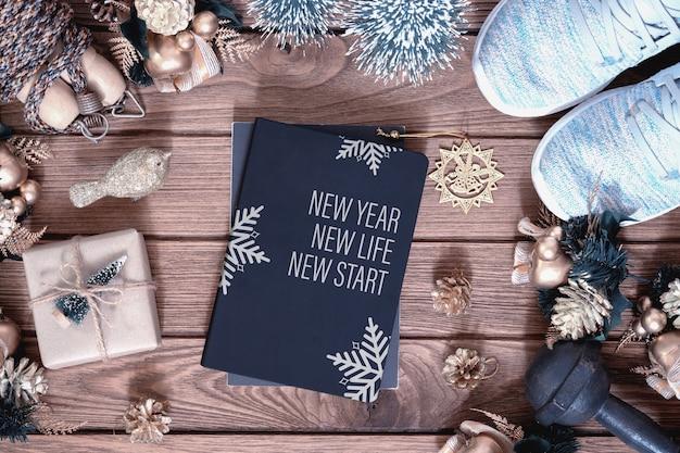 Livro de capa de maquete para o conceito saudável de resoluções de ano novo