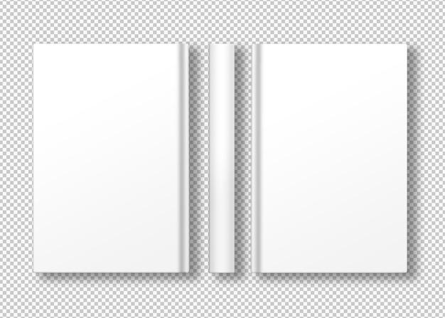 Livro de capa dura com três visualizações e branco isolado