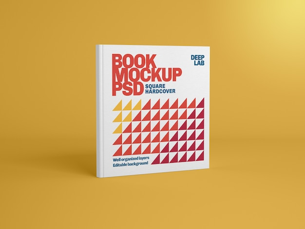 Livro de capa dura quadrado com maquete de cor de fundo editável