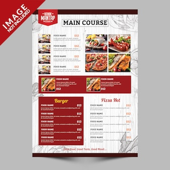Livro de menu de comida vintage lado b