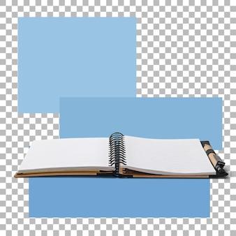 Livro de notas de memorando aberto isolado