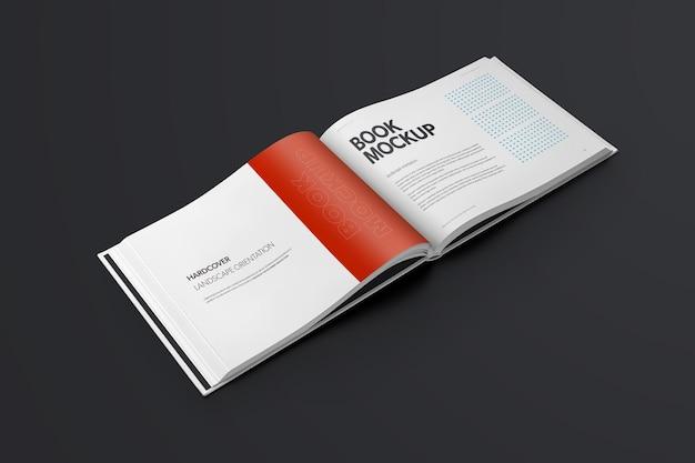 Livro mockups capa dura paisagem oriantation
