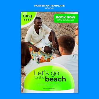 Livro modelo de pôster de férias