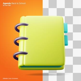 Livro organizador de plano de agenda fechado ícone de renderização 3d cor editável isolada