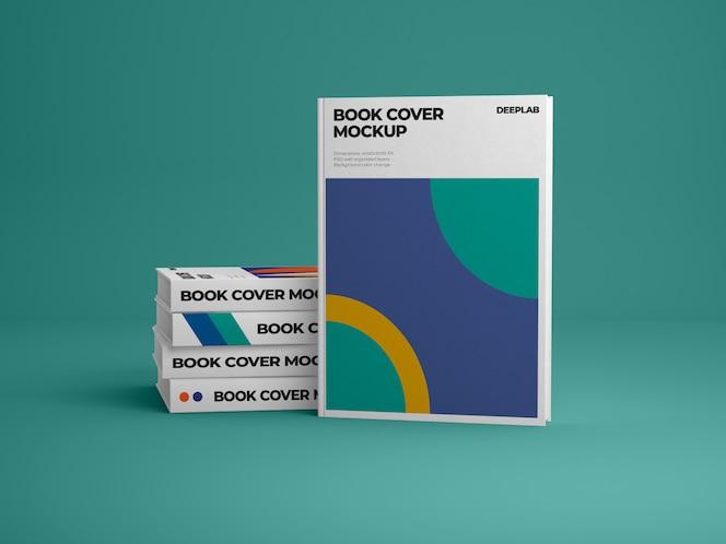Livro vertical de capa dura com maquete de cor de fundo editável