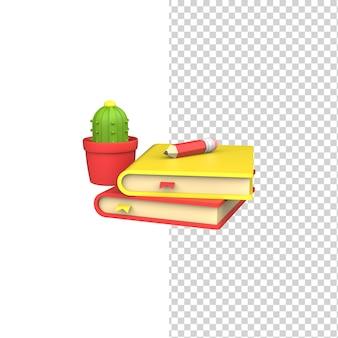 Livros de renderização 3d com marcador e conceito de lápis com fundo branco isolado