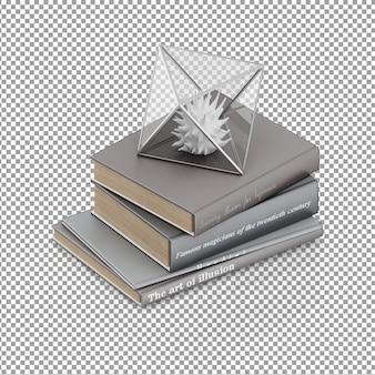 Livros isométricos com decoração