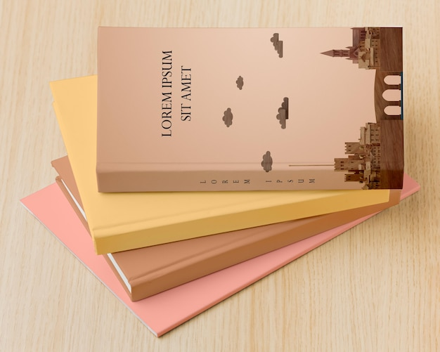 Livros minimalistas de alto ângulo cobrem a composição do mock-up