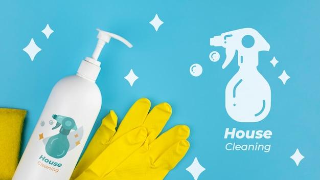 Loção de limpeza e luvas de proteção limpeza da casa