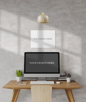 Loft mesa de trabalho, mock up, cópia espaço, modelo, trabalhar em casa, renderização em 3d, ilustração