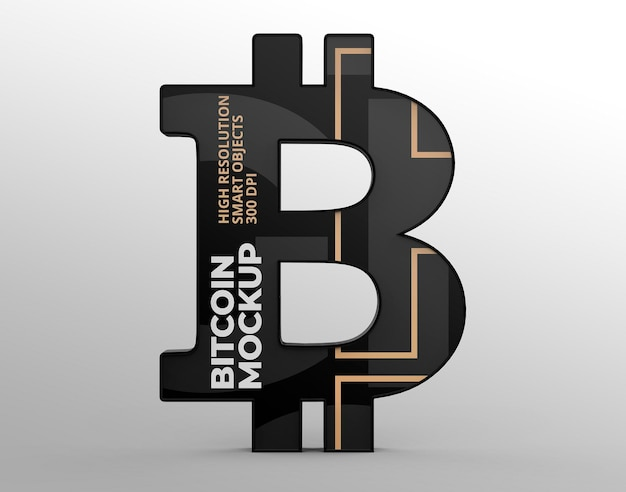 Logo maquete de bitcoin para apresentações de marca e publicidade