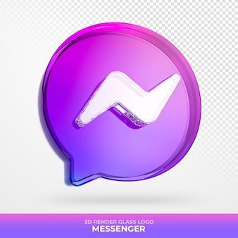 Logo messenger em vidro acrílico com renderização 3d transparente