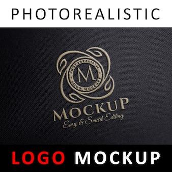 Logo mock up - bordado tecido costurado logotipo