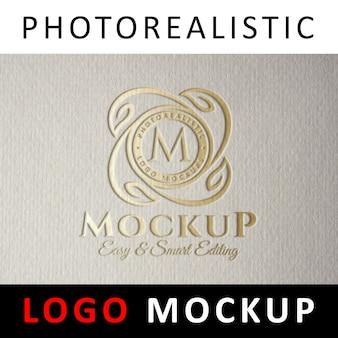 Logo mock up - estampagem de folha de tipografia golden logo