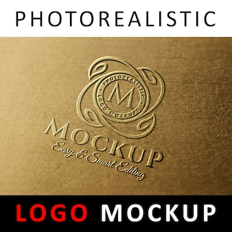 Logo mock up - logotipo de cobre moldado