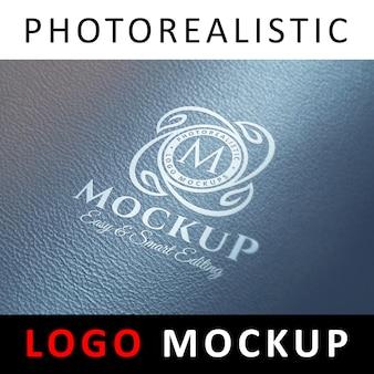 Logo mock up - logotipo metálico prateado em couro