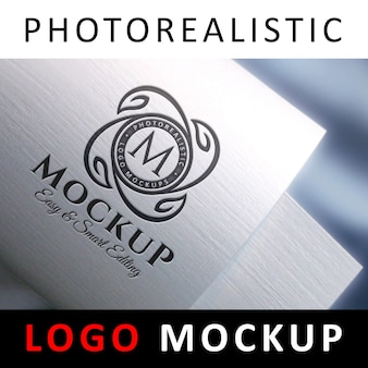 Logo mock up - logotipo preto de tipografia em papel