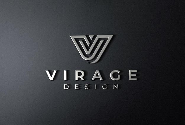 Logo mockup 3d logotipo cromado em fundo preto