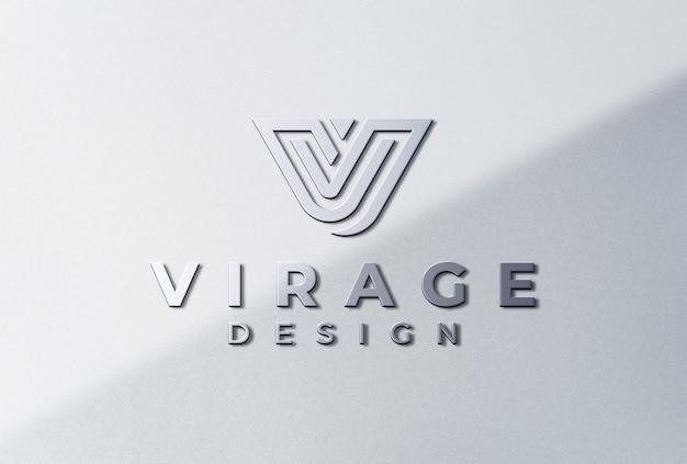 Logo mockup 3d metálico logo signage