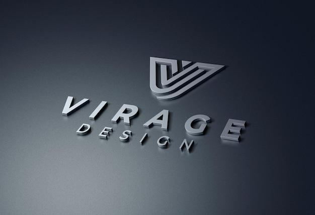 Logo mockup 3d metallic logo