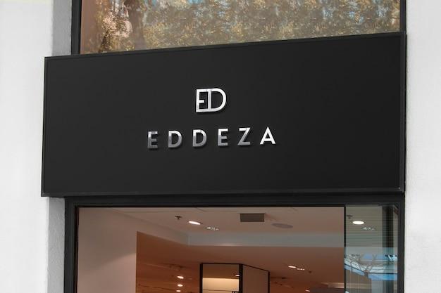 Logo mockup black luxury facade sign