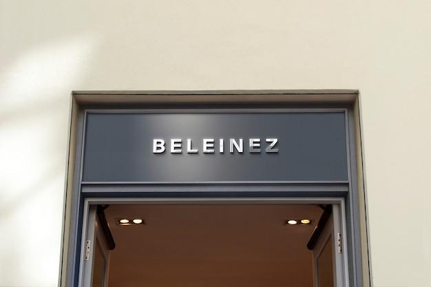 Logo mockup blue luxury facade sign