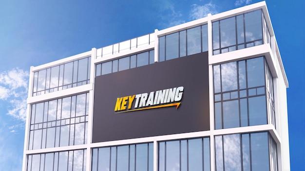 Logo mockup facade 3d modern wall