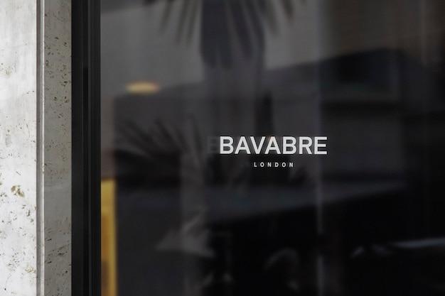Logo mockup luxury dark window sign