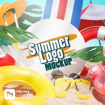 Logo mockup summer beach accessories background 3d rendering