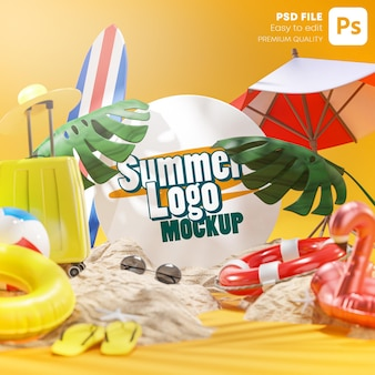 Logo mockup summer beach accessories fundo amarelo renderização 3d