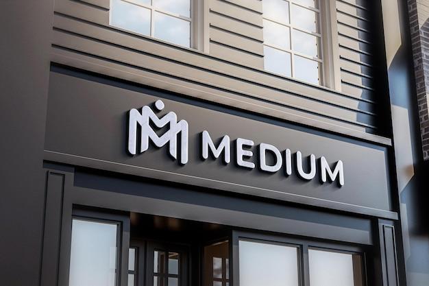 Logo shop sign mockup black store 3d realista