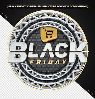 Logotipo 3d black friday com estrutura metálica dourada para composições