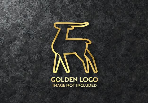 Logotipo 3d brilhante dourado na maquete da parede escura