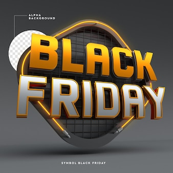 Logotipo 3d da black friday com luzes e megafone preto e laranja