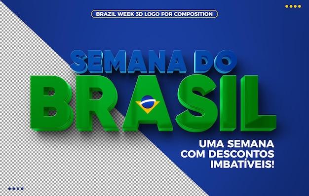 Logotipo 3d da brazil week com descontos imbatíveis