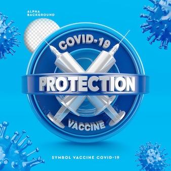 Logotipo 3d da ilustração 3d corona virus vaccine
