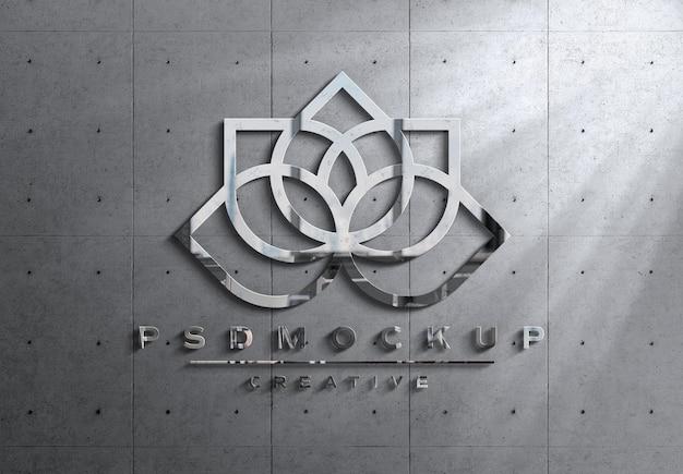 Logotipo 3d de metal brilhante com maquete de luzes e sombras