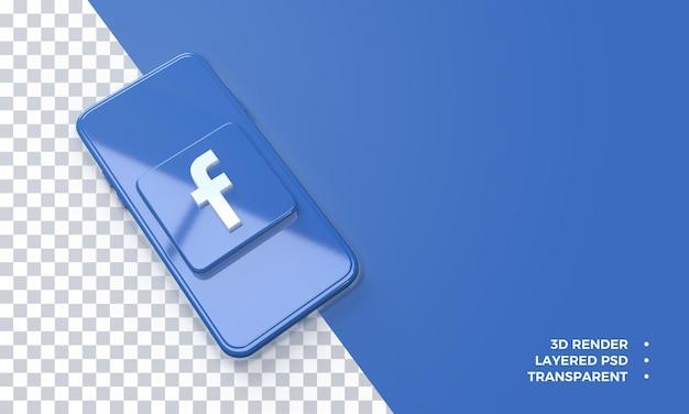 Logotipo 3d do facebook no topo da renderização do smartphone