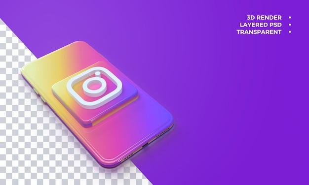Logotipo 3d do instagram no topo da renderização do smartphone