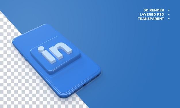 Logotipo 3d do linkedin no topo da renderização do smartphone