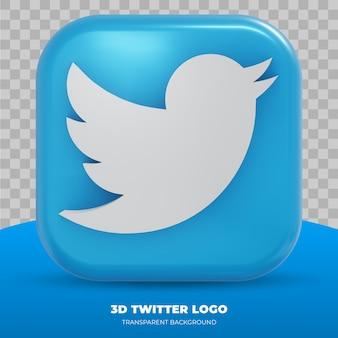 Logotipo 3d do twitter isolado em renderização 3d