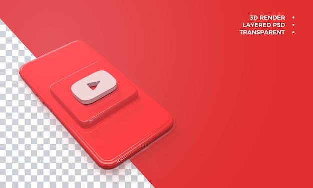 Logotipo 3d do youtube no topo da renderização do smartphone