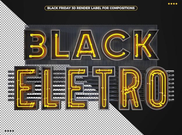 Logotipo 3d eletrônico preto da sexta-feira com amarelo neon para maquiagem
