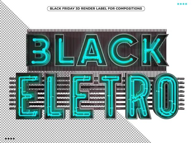 Logotipo 3d eletrônico preto de sexta-feira com néon azul para maquiagem