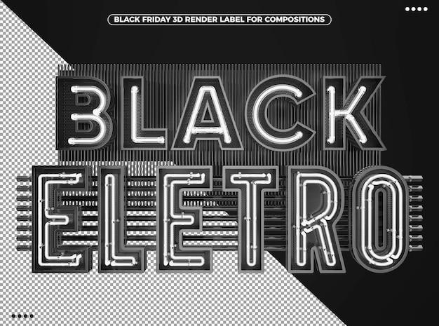 Logotipo 3d eletrônico preto de sexta-feira com neon branco para maquiagem