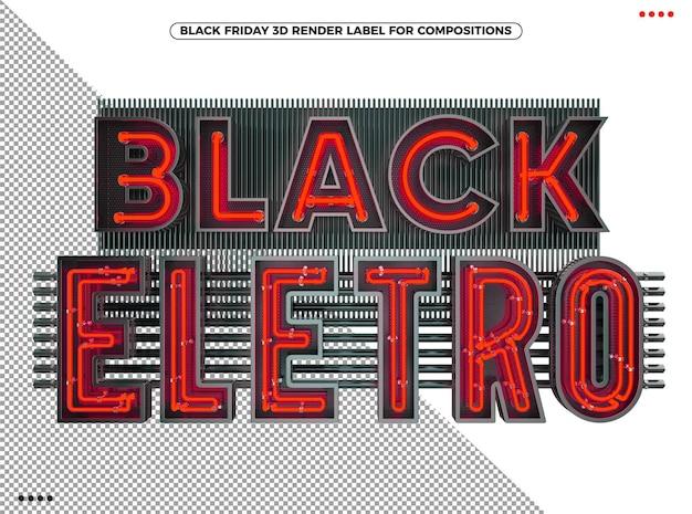 Logotipo 3d eletrônico preto de sexta-feira com vermelho neon para maquiagem