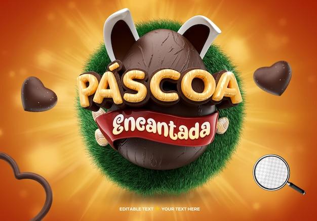 Logotipo 3d encantado ovo de chocolate de páscoa no brasil e orelhas de coelho