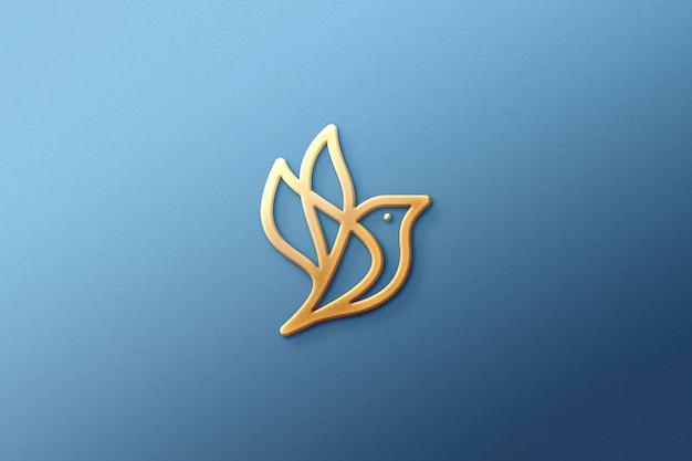 Logotipo 3d maquete papel ouro